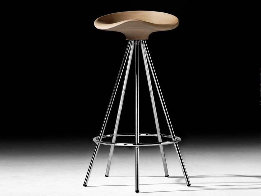 Trestle-based aluminium and wood stool with footrest JAMAICA | Trestle-based stool by BD Barcelona Design