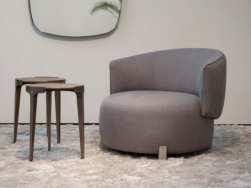 Upholstered fabric easy chair with armrests JANE | Easy chair by Piet Boon