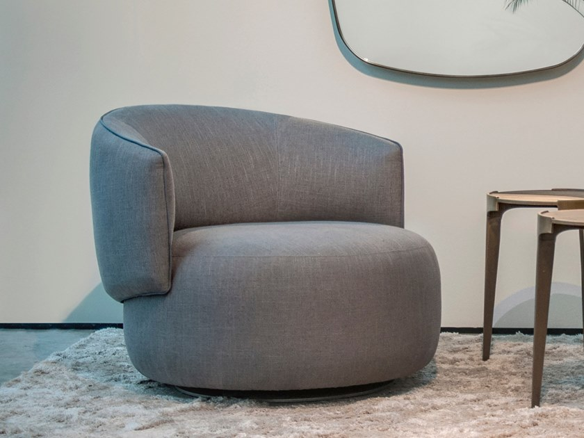 Swivel fabric easy chair with armrests JANE | Swivel easy chair by Piet Boon