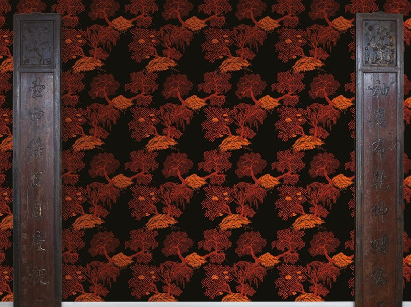 Non-woven paper wallpaper with floral pattern JARDIN D'ASIE by Isidore Leroy