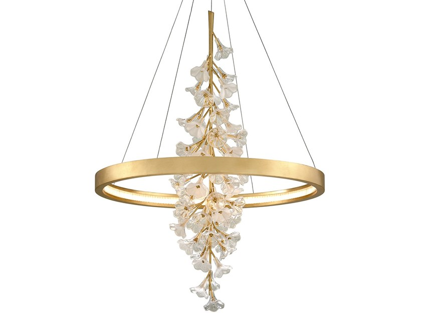 LED gold leaf and glass pendant lamp JASMINE by Hudson Valley Lighting