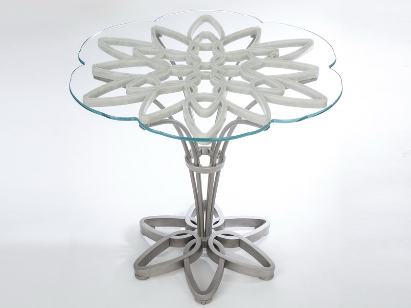 Marble, glass and Stainless Steel table JASMINE by MANEDA