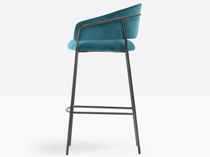 High upholstered stool with back JAZZ 3718 by Pedrali