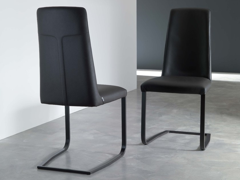Sled base upholstered leather chair JAZZ by Ozzio Italia