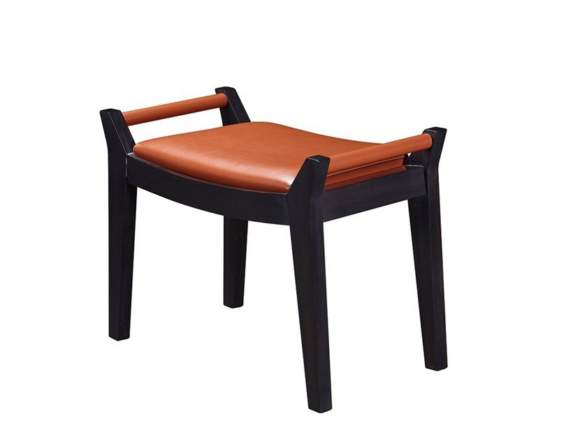 Low upholstered leather stool JEAN by Promemoria