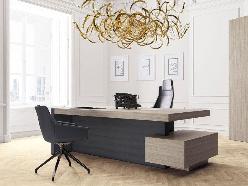 Rectangular Office Desk With Drawers Shelves Jera By Las Mobili