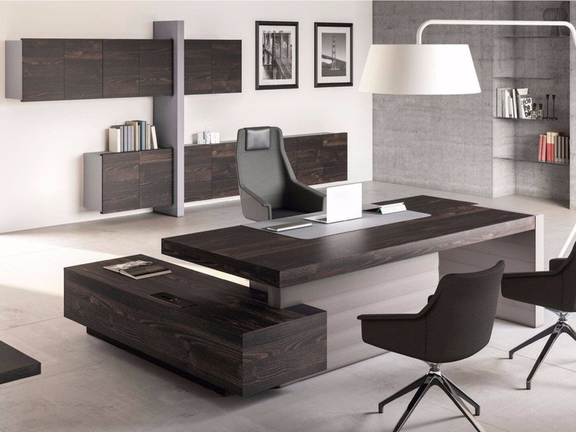 L Shaped Executive Desk With Shelves Jera Office By Las Mobili