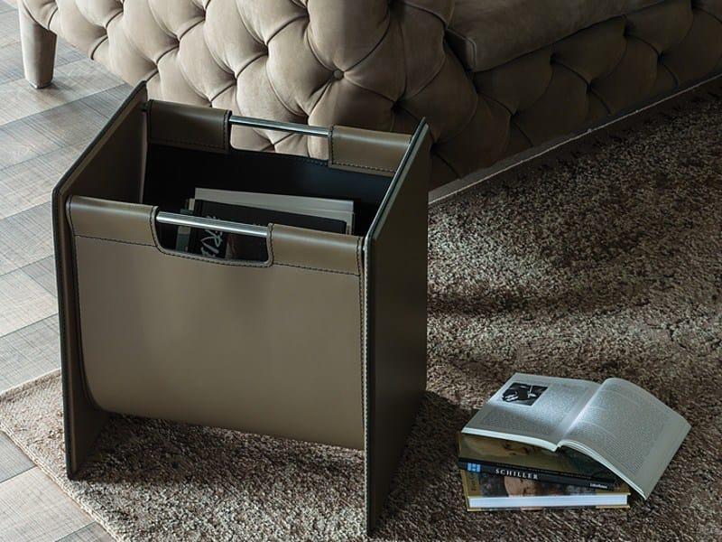 Tanned leather magazine rack / Log holder JERRY by Cattelan Italia
