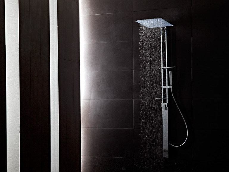 Wall-mounted brass shower panel with hand shower JETTO | Shower panel by tender rain