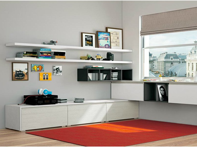 Sectional wall-mounted storage wall JEY LIVING by CREO Kitchens