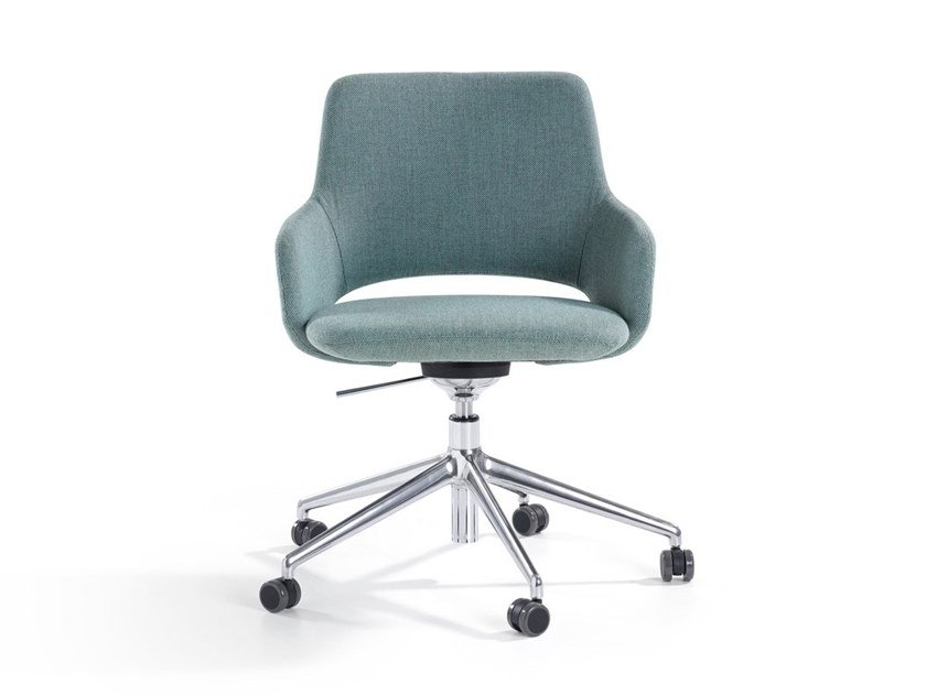 Fabric chair with 5-spoke base with castors JIMA | Chair with castors by Artifort