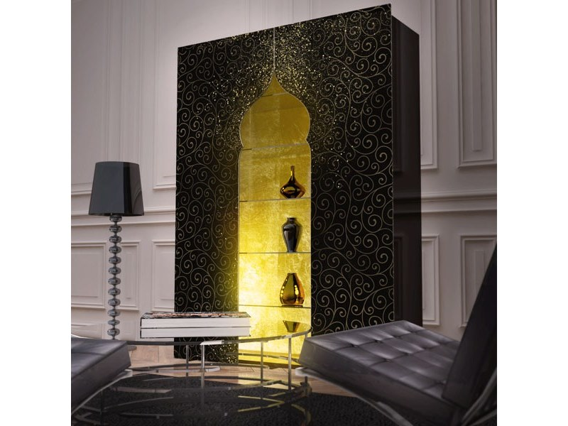 Wall-mounted bookcase with built-in lights JINN by Unica by Tecnotelai