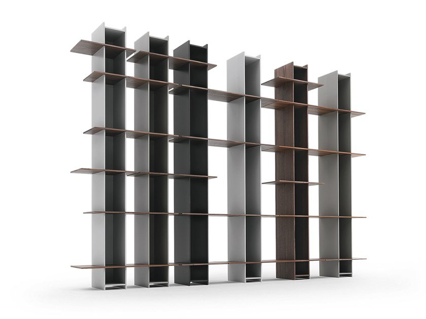Open sectional lacquered wooden bookcase JOINT by SCULPTURES JEUX