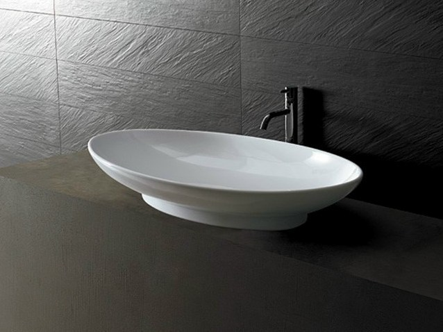 Oval ceramic washbasin JOKER DISH by Alice Ceramica