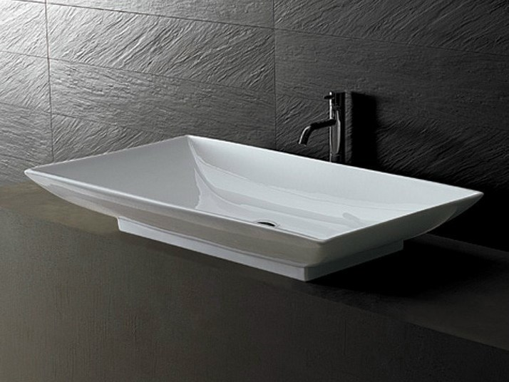 Countertop rectangular ceramic washbasin JOKER TRAY by Alice Ceramica