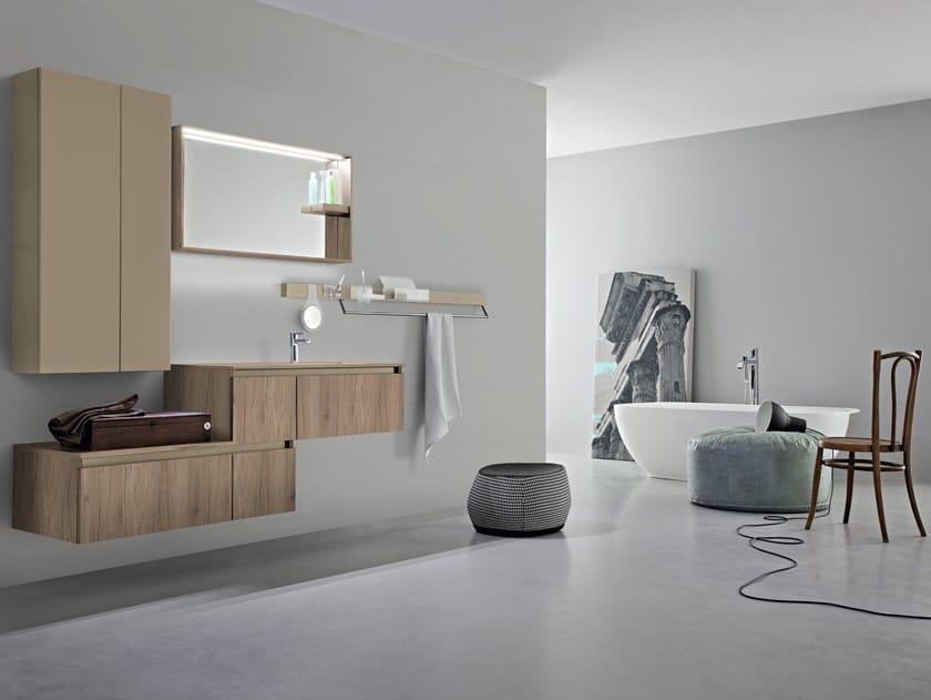 Mobile lavabo singolo sospeso con armadio joy by cerasa