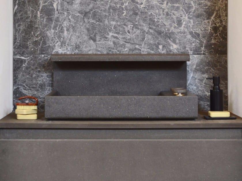 Countertop rectangular basalt washbasin JP | Lavabo in basaltina by mg12