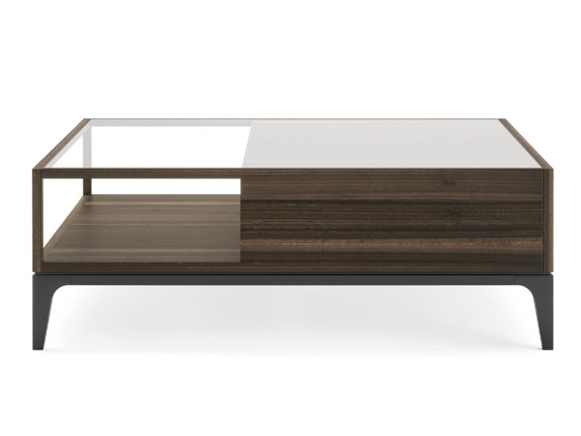 Square wood and glass coffee table with integrated magazine rack JUKE by PRADDY