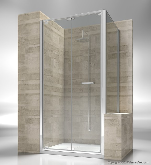 Custom tempered glass shower wall panel JUNIOR GN+GP by VISMARAVETRO