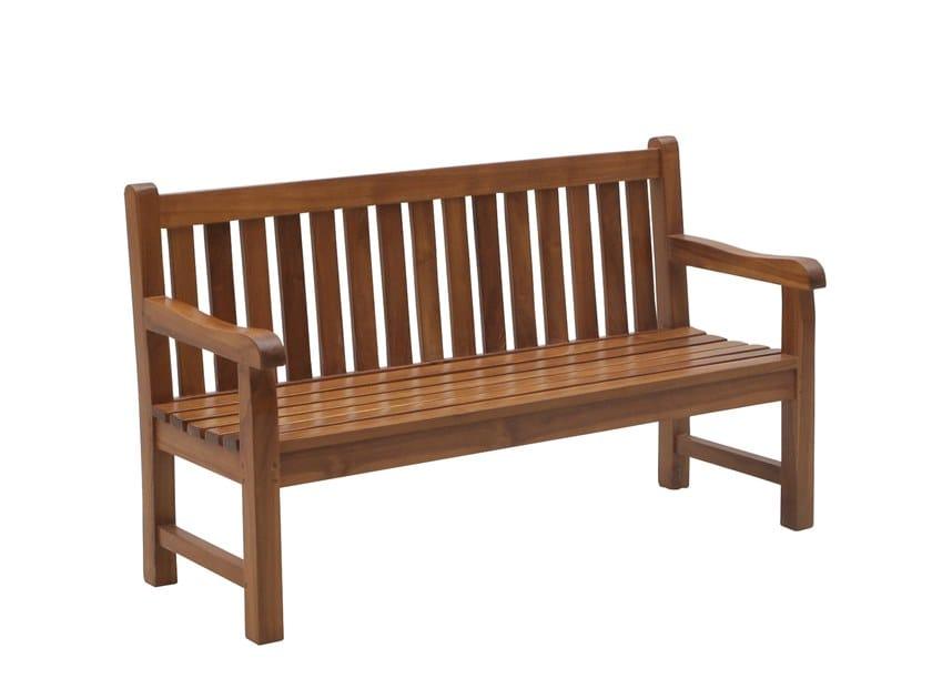 Teak garden bench with armrests JUNIOR | Garden bench by Il Giardino di Legno