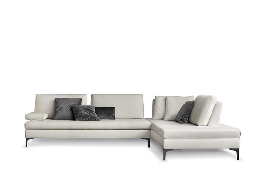 Divano componibile in tessuto con chaise longue JUNO | Divano by AERRE ITALIA