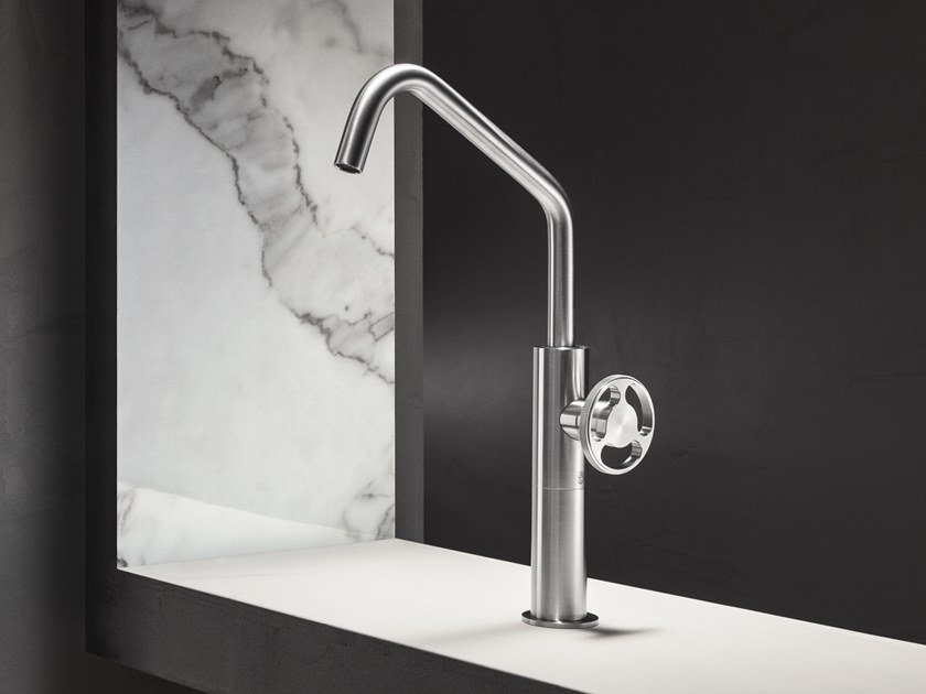 Countertop single handle stainless steel washbasin tap without waste KÀTO by Radomonte