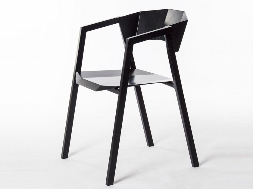 Aluminium chair with armrests K by BUZAO