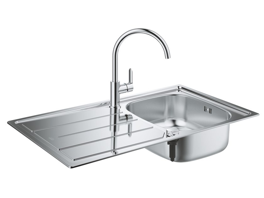 Single built-in stainless steel sink with drainer K200 | Sink by Grohe