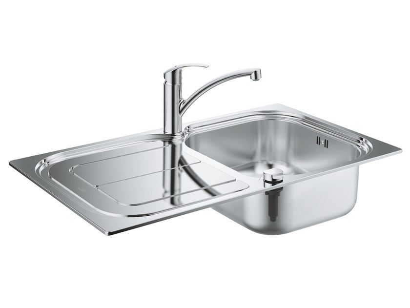 Single built-in stainless steel sink with drainer K300 | Single sink by Grohe