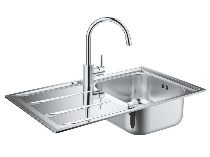 Single built-in stainless steel sink with drainer K400 | Single sink by Grohe