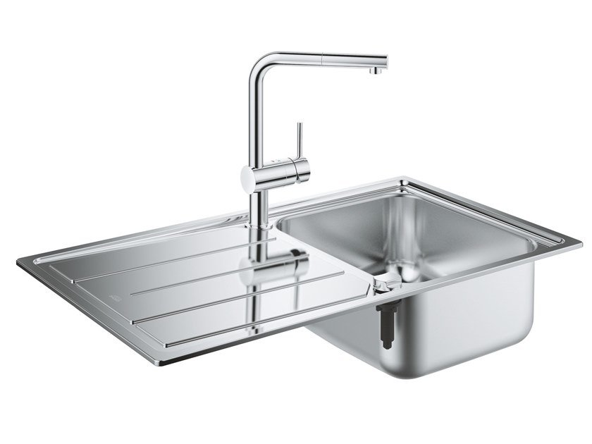 Single built-in stainless steel sink with drainer K500 | Single sink by Grohe