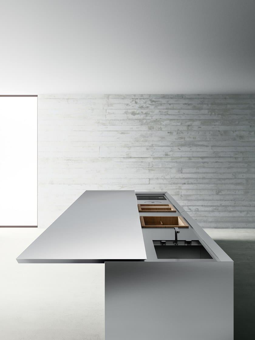 Cucina a scomparsa in acciaio inox con isola K6+6 - Boffi