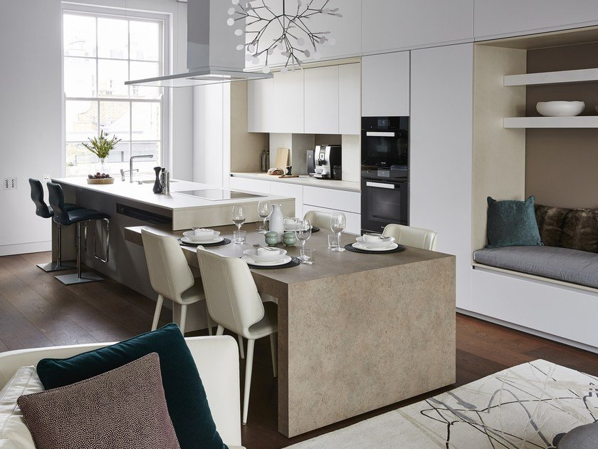 Lacquered melamine-faced chipboard kitchen with island K6 | Lacquered kitchen by TM Italia Cucine
