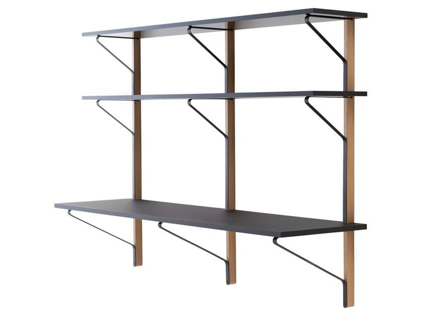 Wall Shelf with Desk KAARI | Shelving unit with secretary desk by Artek