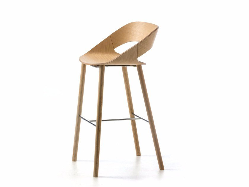 Stool with footrest KABIRA WOOD ST-4WL by arrmet