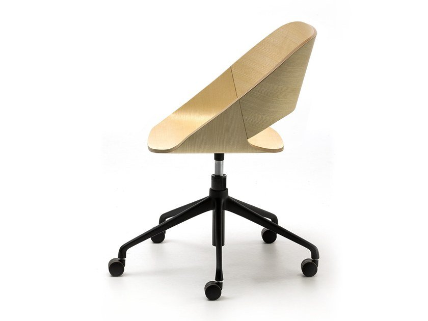 Height-adjustable task chair with casters KABIRA WOOD HO by arrmet