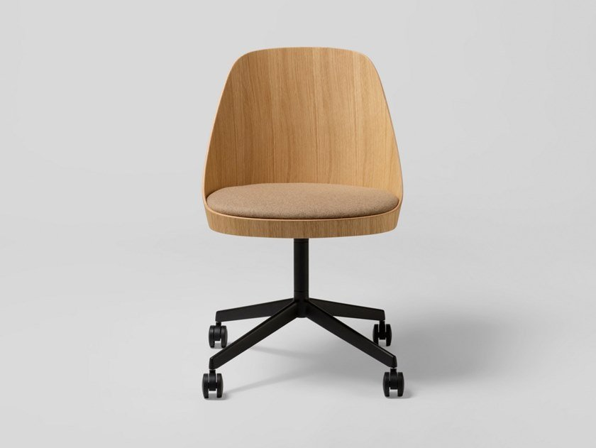 Oak office chair with 4-Spoke base with castors KAIAK CONFIDENT | Chair with castors by ENEA