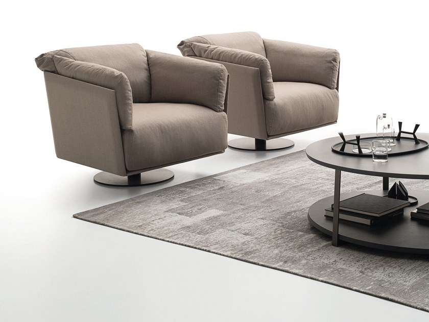 Trestle-based fabric armchair with armrests KAILUA | Armchair by Ditre Italia