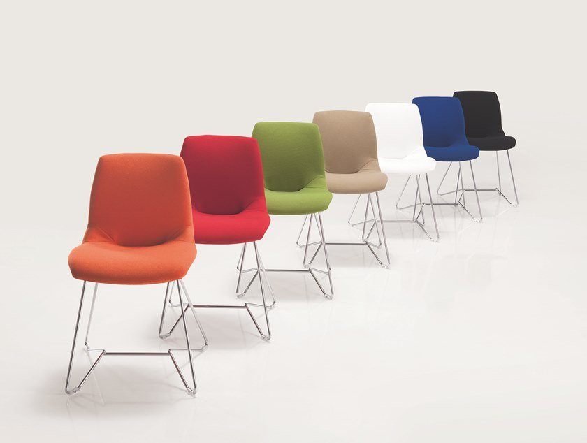Sled base Trevira® CS chair KALEIDOS | Sled base chair by Caimi Brevetti