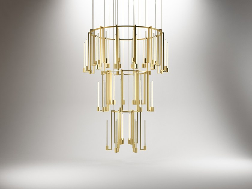 Murano glass pendant lamp KALI' CHANDELIER 3 RINGS by Paolo Castelli
