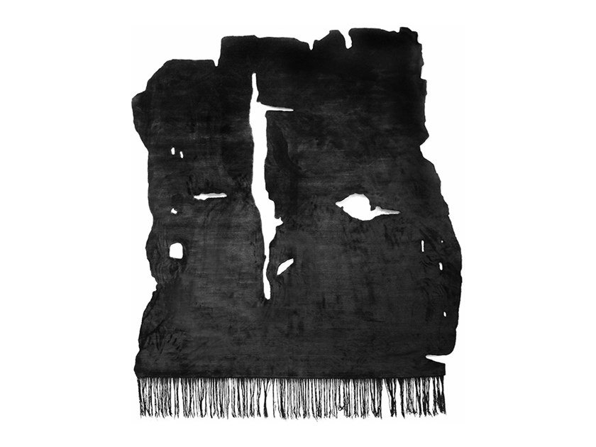 Handmade Bamboo silk rug KALIX NIGHT FROZEN CUT by HENZEL STUDIO
