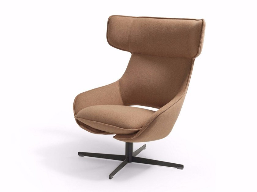Swivel armchair with 4-spoke base with armrests KALM COMFORT by Artifort