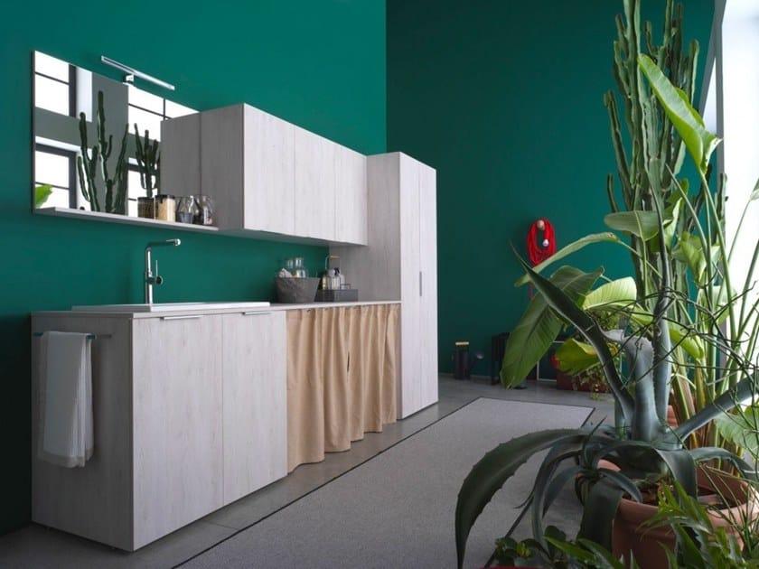 Mobile lavanderia in nobilitato con lavatoio per lavatrice KANDY 08 by Ideagroup
