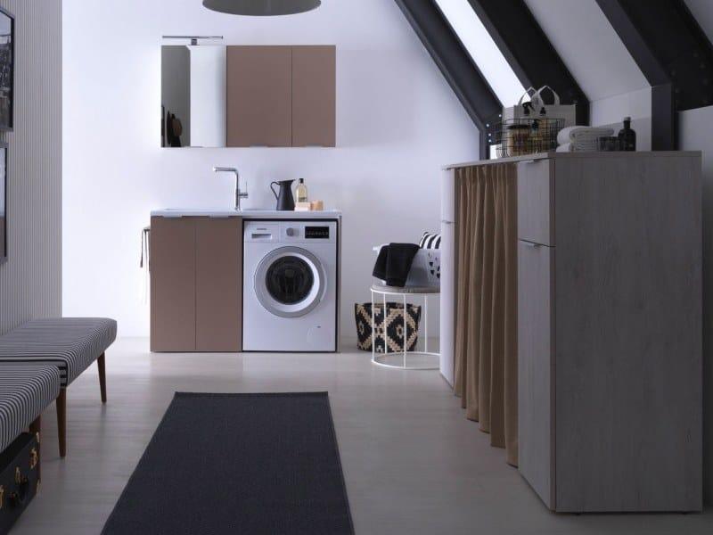 Lavadora Con Lavabo.Mueble Para Lavanderia De Aglomerado Ennoblecido Con Lavabo