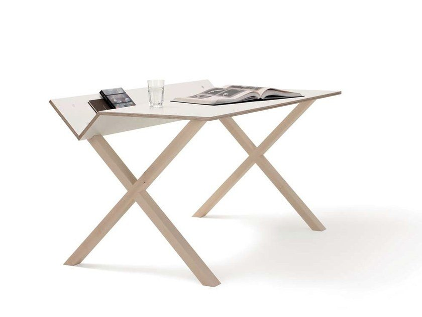Rectangular multi-layer wood writing desk KANT by Nils Holger Moormann