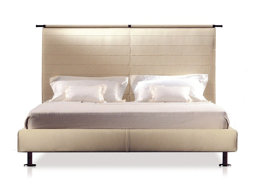 Leather bed with high headboard KAO by GIORGETTI