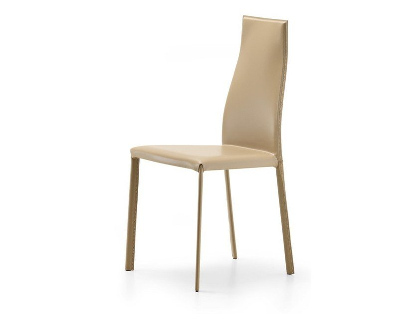 Tanned leather chair KAORI by Cattelan Italia