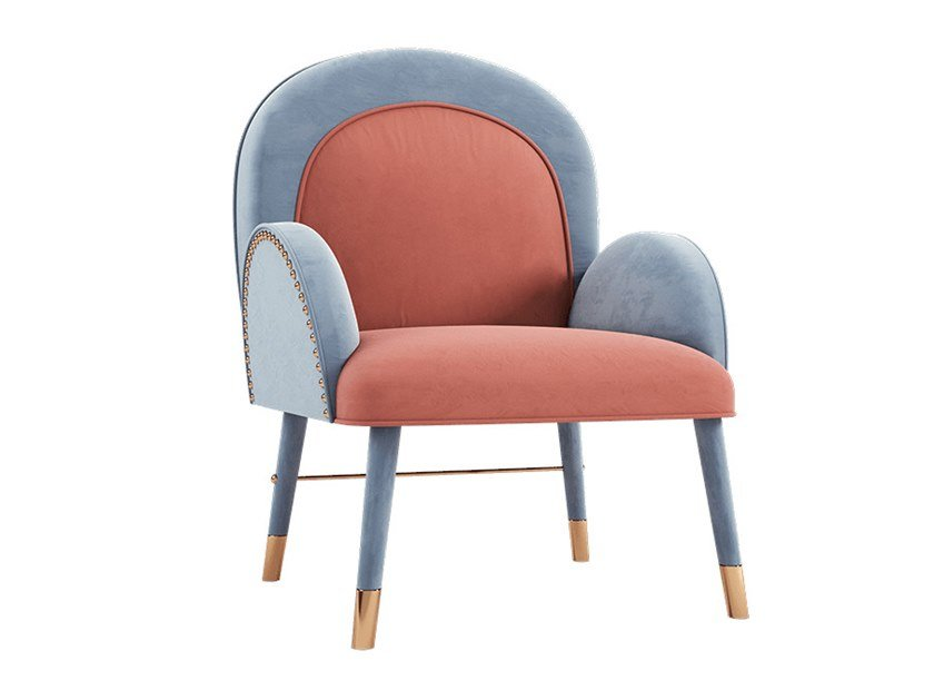 Upholstered velvet chair with armrests KARIN | Chair by Ottiu