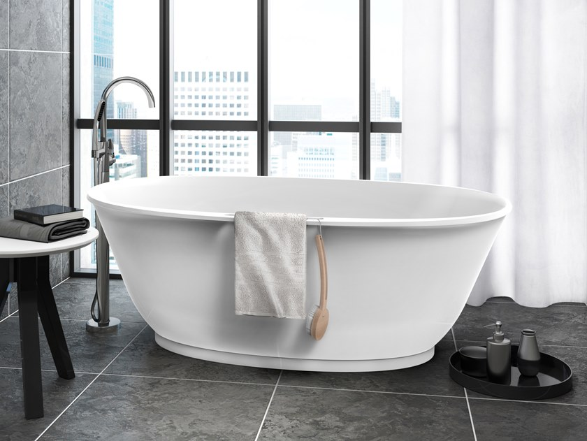 Contemporary style freestanding oval composite material bathtub ...