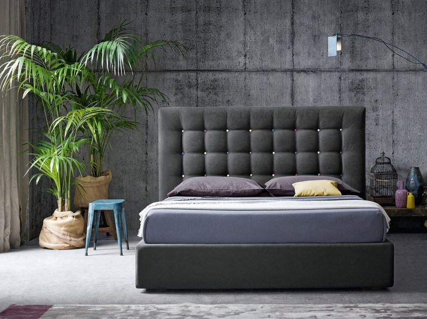 Fabric double bed with tufted headboard KARL by Felis